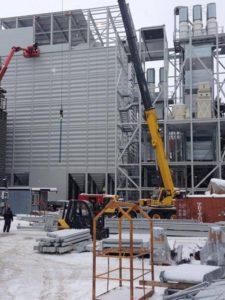 Oppføring av stålbygg, Skjelfoss, etter brann